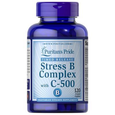 Puritan's Pride Stress Vitamin B-Complex with Vitamin C-500 Timed Release-120 Caplets