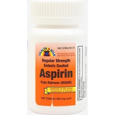 Health Star Aspirin Enteric Coated 325 mg-100 Tablets