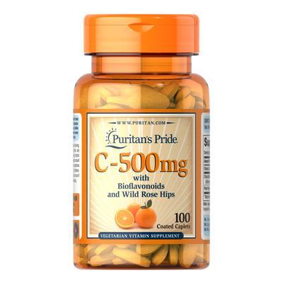 Puritan's Pride Vitamin C-500 mg with Bioflavonoids & Rose Hips-100 Caplets