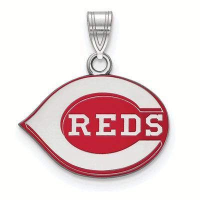 Cincinnati Reds Women's Silver Enamel Pendant