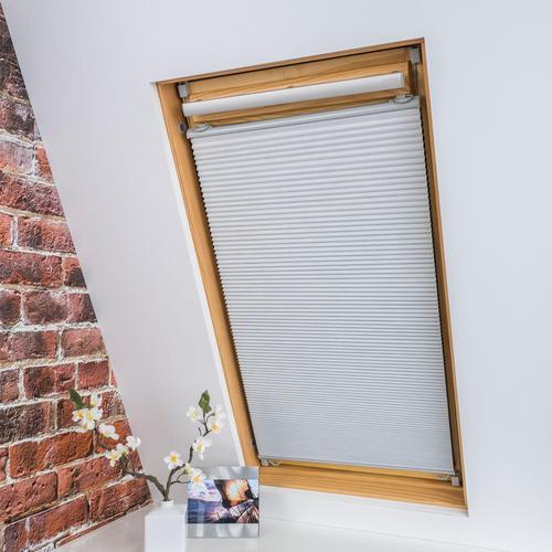 Liedeco Dachfensterplissee Universal Dachfenster-Plissee, Fixmaß weiß Plissees ohne Bohren Rollos Jalousien
