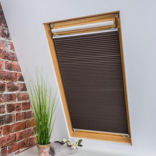 Liedeco Dachfensterplissee Universal Dachfenster-Plissee, Fixmaß braun Plissees ohne Bohren Rollos Jalousien