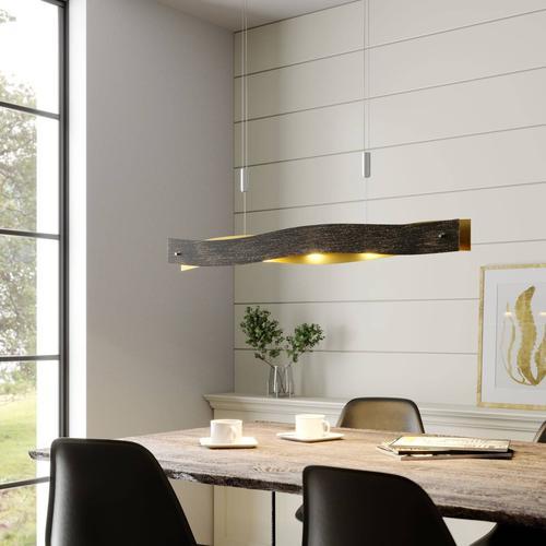Dimmbare LED-Hängeleuchte Ebu, schwarz-gold
