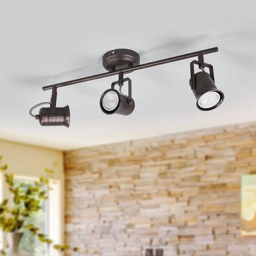 Rustikale LED-Deckenlampe Cansu in Braun