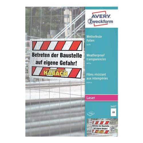 Wetterfeste Folien »3487« weiß, Avery Zweckform