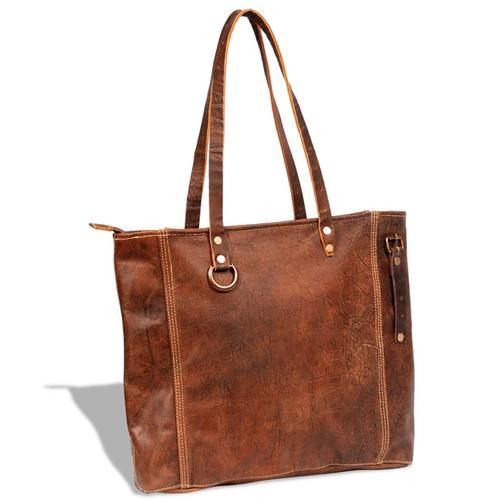 vidaXL Echtleder Shopper-Tasche braun