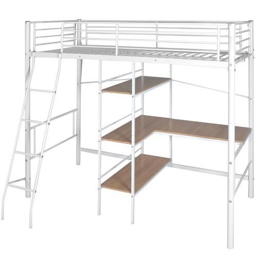 vidaXL Hochbett mit Schreibtisch Weiß & Braun Metall 90×200 cm