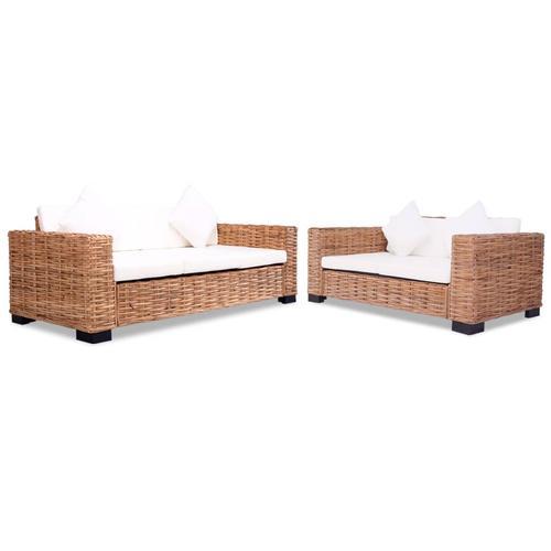 vidaXL Sofa-Set 15-tlg. Natürliches Rattan
