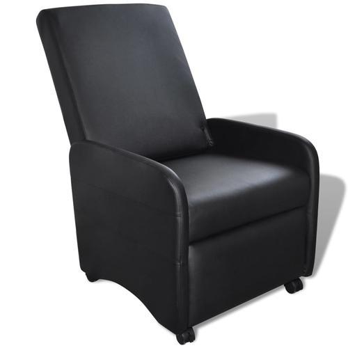 vidaXL Ausklappbarer Sessel Schwarz Kunstleder