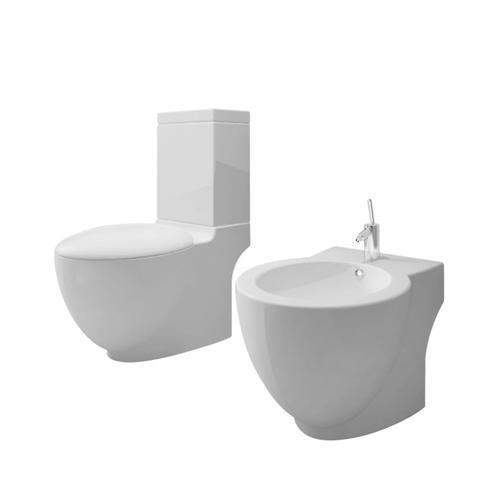 vidaXL Toiletten & Bidet Set Weiß Keramik