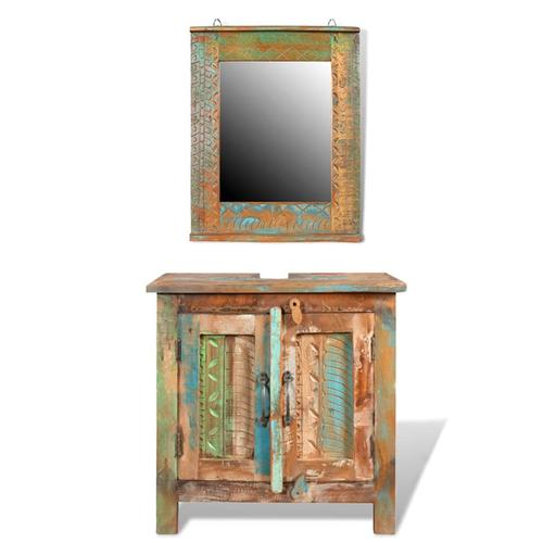 vidaXL Badmöbel Waschbeckenunterschrank mit Spiegel Massivholz
