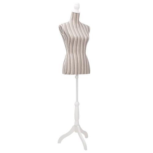 vidaXL Damenbüste Schneiderpuppe Büste Torso Mannequin Leinen mit Streifen