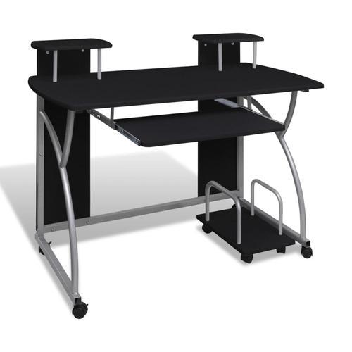 vidaXL Computertisch PC Tisch Mobiler Computerwagen Bürotisch Rollen schwarz
