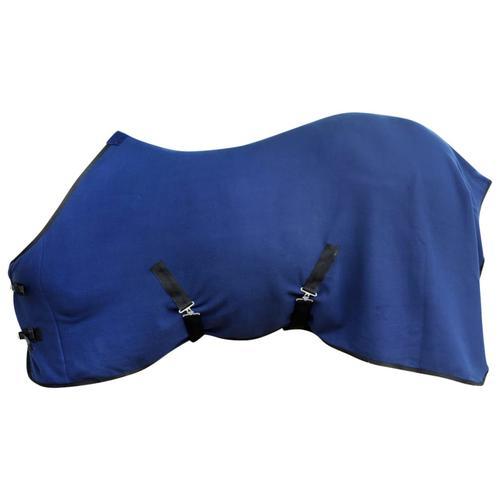 vidaXL Pferdedecke Fleecedecke Abschwitzdecke mit Kreuzbegurtung 125 cm blau