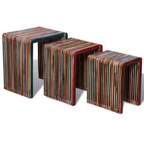 vidaXL Satztisch-Set 3-tlg. Bunt Recyceltes Teak