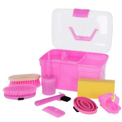 Kerbl Pferde-Putzbox für Kinder mit 8 Pflegeutensilien Rosa 321766