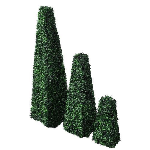 vidaXL Buchsbaum-Set 3 tlg. Künstlich Formschnitt Pyramide