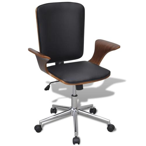vidaXL Büro-Drehstuhl Bugholz mit Kunstleder-Bezug