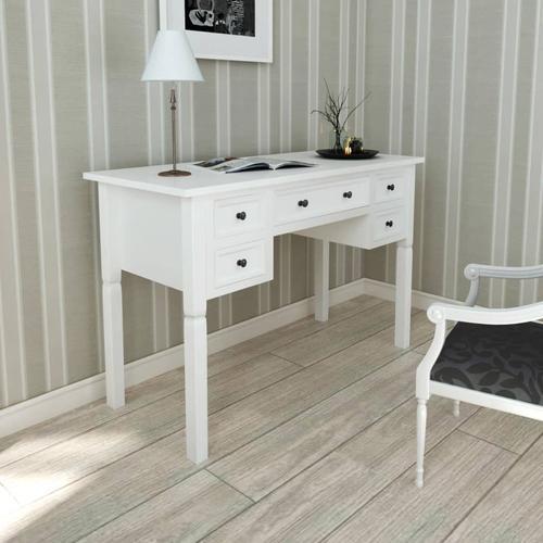 vidaXL Weißer Schreibtisch mit 5 Schubladen