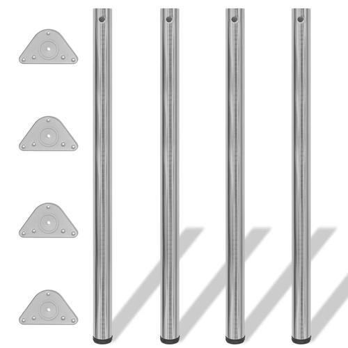 vidaXL 4x höhenverstellbares Tischbein Tischbeine gebürstetes Nickel 1100 mm