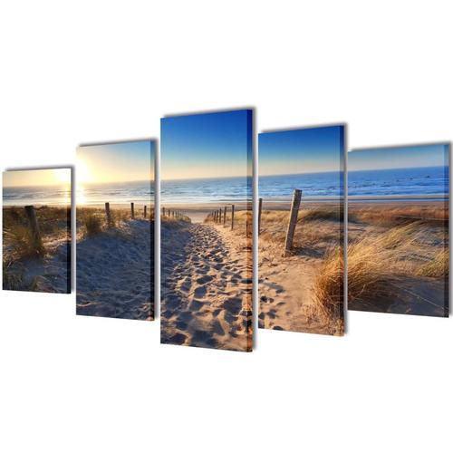 vidaXL Bilder Dekoration Set Strand 100 x 50 cm