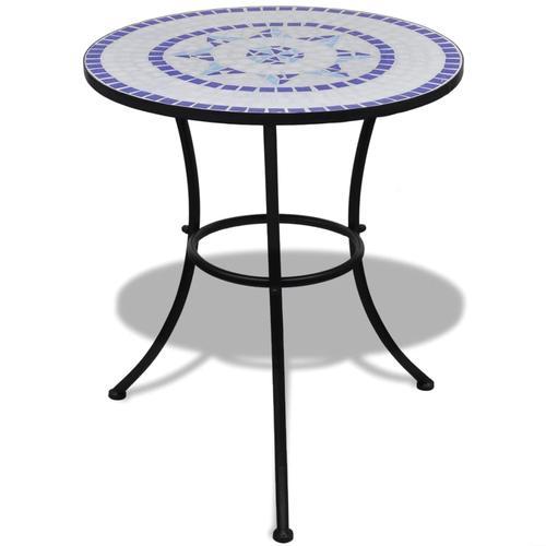 vidaXL Bistrotisch Blau und Weiß 60 cm Mosaik