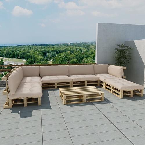 vidaXL 21-tlg. Garten-Lounge-Set Holzpaletten Sandweiß