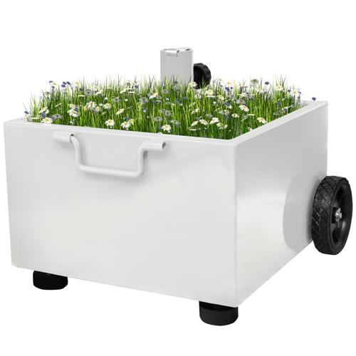 vidaXL Bepflanzbarer Sonnenschirmständer Blumentopf Weiß