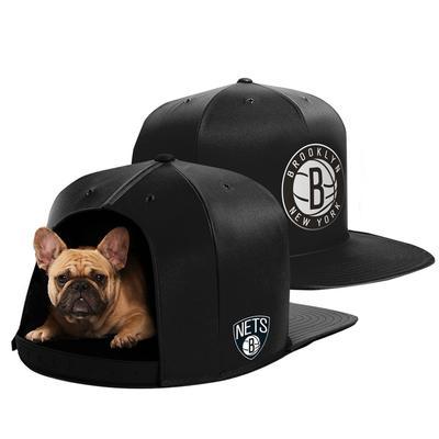 """""""Black Brooklyn Nets Medium Pet Nap Cap Dog Bed"""""""