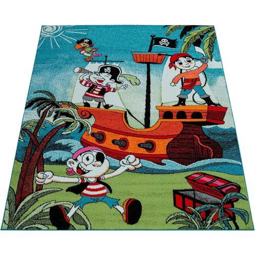 Paco Home Kinderteppich Alma 951, rechteckig, 14 mm Höhe, Kinder Design, kunterbuntes Piraten Motiv, Kinderzimmer blau Bunte Kinderteppiche Teppiche