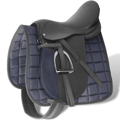 "vidaXL Pferdereiten Sattelset 17,5"" echtes Leder schwarz 12 cm 5-in-1"