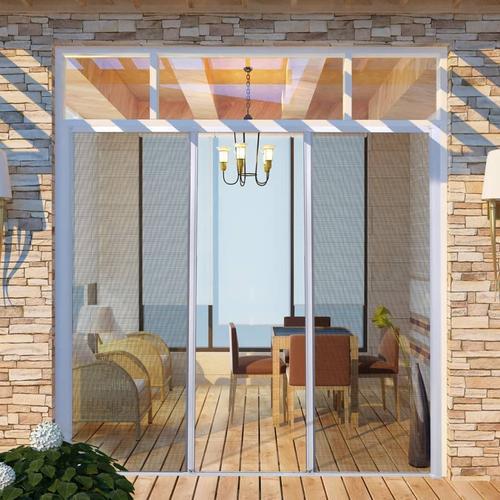 vidaXL Insektenschutz zum Schieben für Doppeltüren 215 x 215 cm weiß
