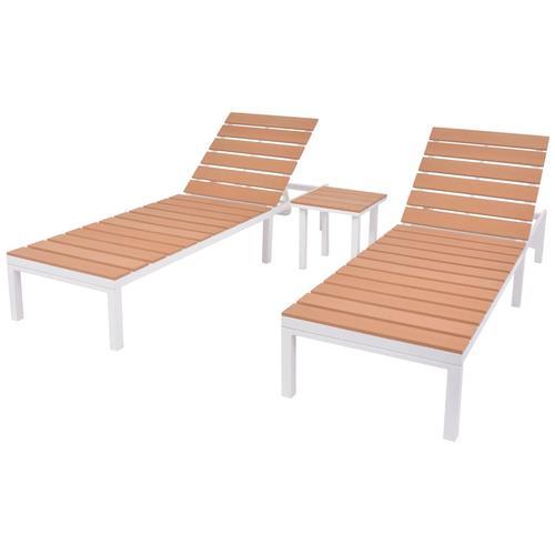vidaXL Sonnenliegen 2 Stk. mit Tisch Aluminium WPC Weiß und Braun