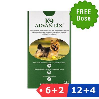 K9 Advantix Small Dogs/Pups 1-10 Lbs (Green) 6 Dose + 2 Doses Free