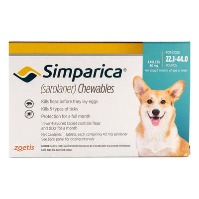 Simparica Chewables For Dogs 22.1-44 Lbs (Blue) 3 Doses