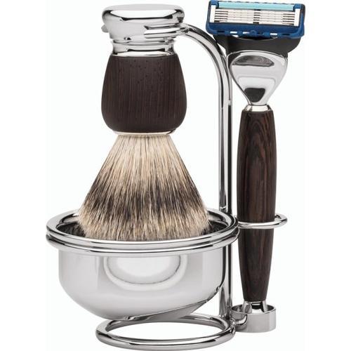 Erbe Shaving Shop Premium Design MILANO Rasiergarnitur mit Seifenschale Silberspitz & Fusion Wengeholz Rasierset