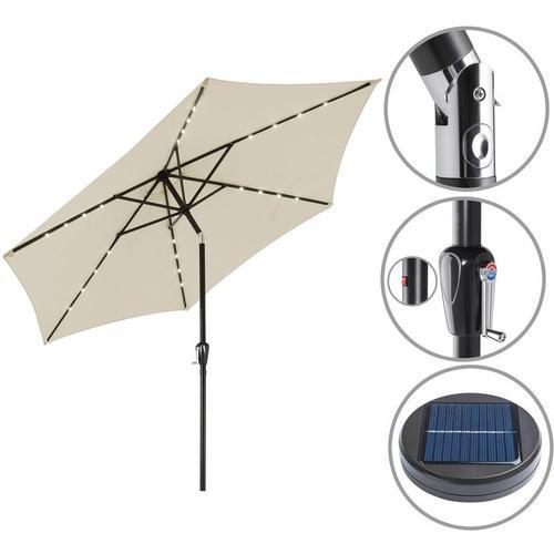 Sonnenschirm ALU 24 LED Kurbel Solar Ø270cm Marktschirm Gartenschirm Schirm beige
