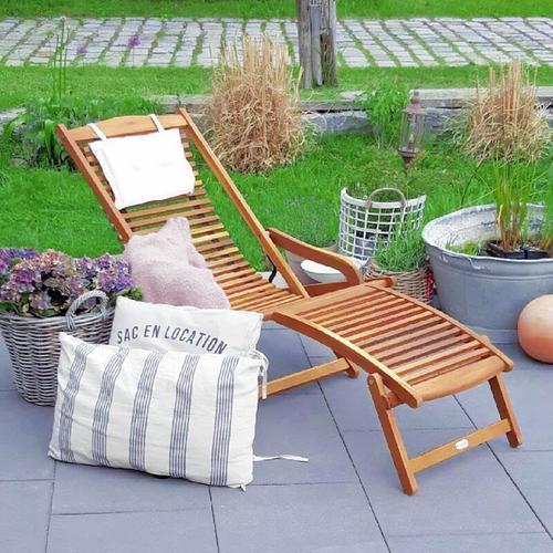 Sonnenliege Akazien Holz klappbar Kopfkissen Gartenliege Liegestuhl Garten Holzliege Deckchair