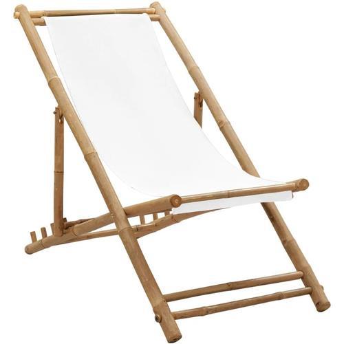 Garten-Liegestuhl Bambus und Segeltuch
