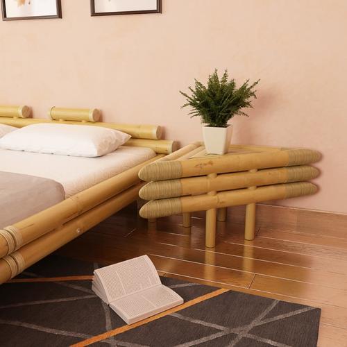 vidaXL Nachttische 2 Stk. 60x60x40 cm Bambus Natur