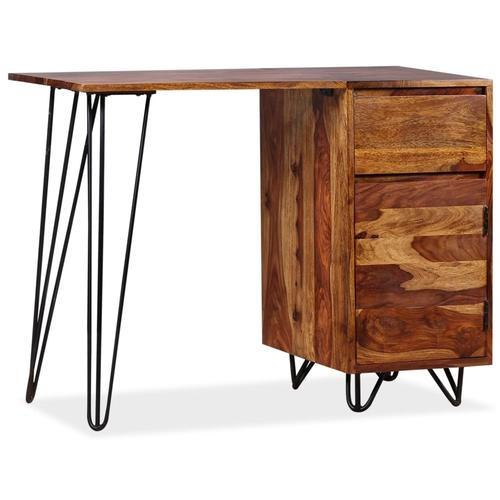 vidaXL Schreibtisch mit 1 Schublade und 1 Schrank Massivholz