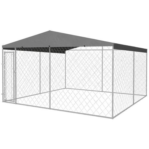 vidaXL Outdoor-Hundezwinger mit Überdachung 4x4x2,4 m