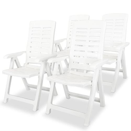 Verstellbare Gartenstühle Kunststoff Weiß 4 Stk.