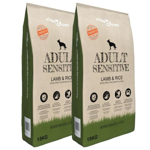 vidaXL Premium-Trockenhundefutter Adult Sensitive Lamb & Rice 2 x 15 kg