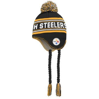 Preschool Black/Gold Pittsburgh Steelers Jacquard Tassel Knit Hat with Pom