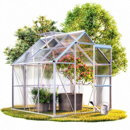 Aluminium Gewächshaus 3,7m² 190x195cm Treibhaus Gartenhaus Frühbeet Pflanzenhaus Aufzucht 5,85 m³