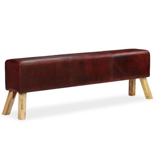 vidaXL Sitzbank Echtleder Braun 160 x 28 x 50 cm