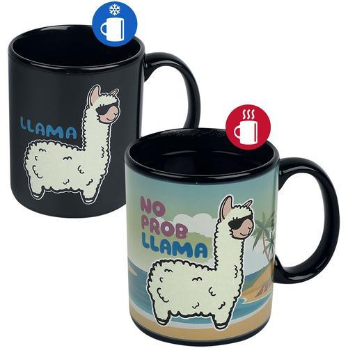 Lama No Probllama - Tasse mit Thermoeffekt Tasse - schwarz
