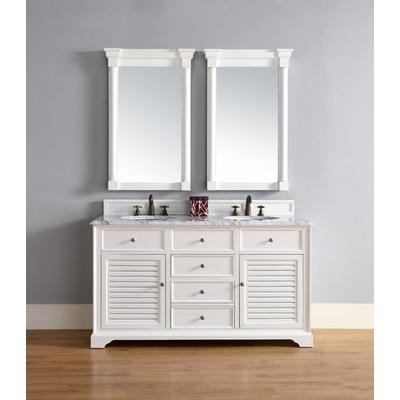 """Savannah 60"""" Double Vanity Cabinet in Cottage White - James Martin 238-104-V60D-CWH"""