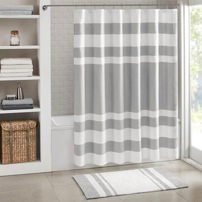 """Madison Park Spa Waffle 54x78"""" Shower Curtain w/ 3M Treatment in Grey - Olliix MP70-4981"""